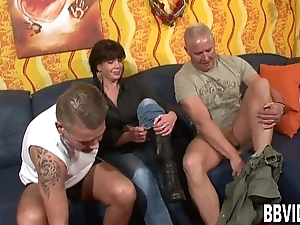 Pigtailed german milf gets double screwed