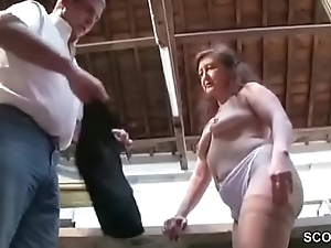 German Mother roughly Stockings Sweet-talk to Fuck on Work