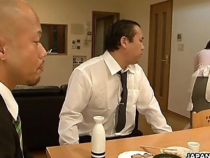Asian sheila sucking him in front of his client