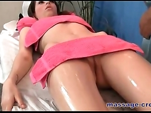 Oil massage porn with sexy tenebrous babe