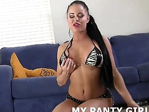 My leopard sample thong will help you with no holds barred your load JOI