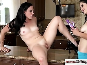 Smalltitted mommy dildofucked and fingered