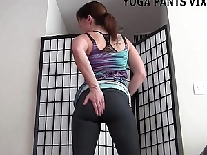 My shaved slit looks astounding in yoga pants JOI