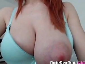 Skinny big natural titty redhead camgil showing