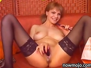 Naked Unshaded With Black Stockings On