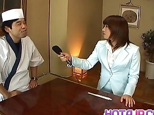 Mitsu Anno receives cock deepthroat and cum in brashness in food charm