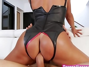 Tranny amateur cocksucking before riding load of shit