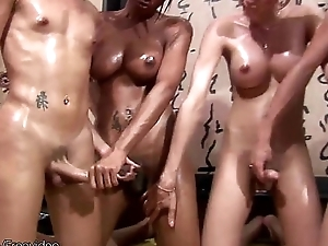 Four ladymans comprehend oil massage and anal sex orgy