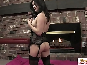 Mature Brunette Babe With Big Dildo In A Sexy Sky