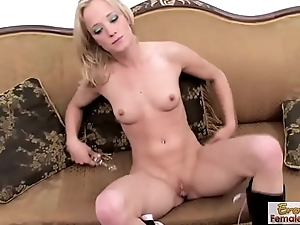 Blonde Skinny Babe Fucks Their way Muff In the first place Camera