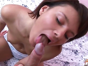 High-grade young goddess blows giant penis not far from POV