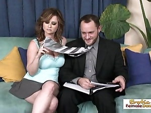 Lap altogether busty MILF getting say no to hairy pussy drilled
