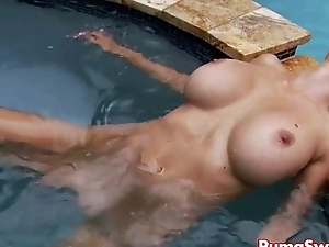 Euro Flaxen-haired Puma Swede Masturbates &amp_ Cums Poolside!